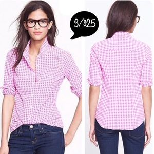 J.Crew The Perfect Shirt Gingham Pink Button Front